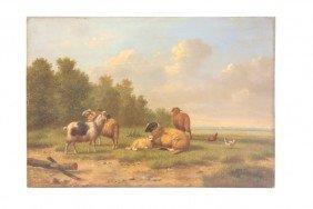 Arthur De Waerhert Sheep Landscape Oil Painting