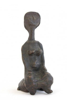 Modern Bronze Sculpture Seated Woman
