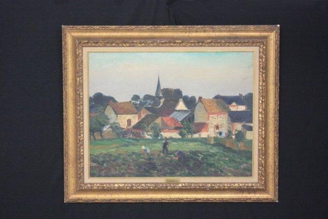 """1194: Gaston Sebride """"Le Village"""" oil"""