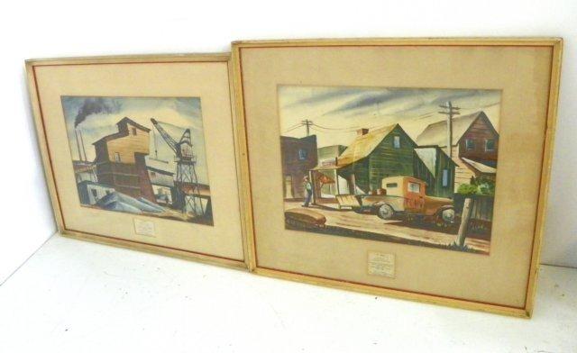 1203: Henry P. Clark WPA style pair watercolors