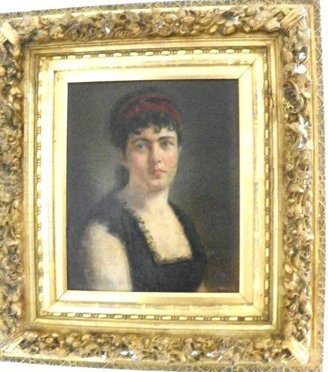 1205: 19thc Portrait of a Beauty oil