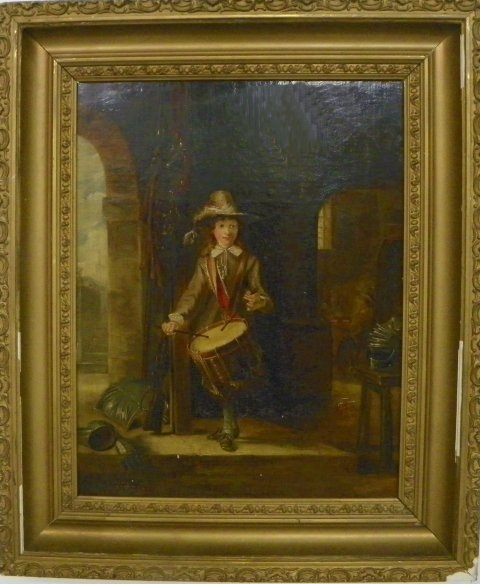 1206: 19thc Boy with Drum oil painting