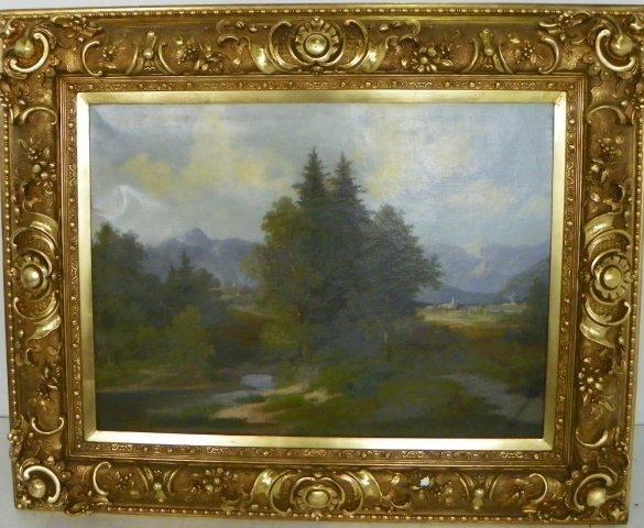 1208: 19thc European Landscape oil painting