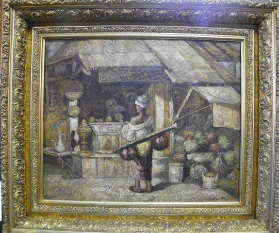 1209: Julius Gyula Tornai Woman in Market oil painting