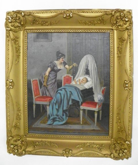 1211: Luca Sacco Mother and Child oil painting