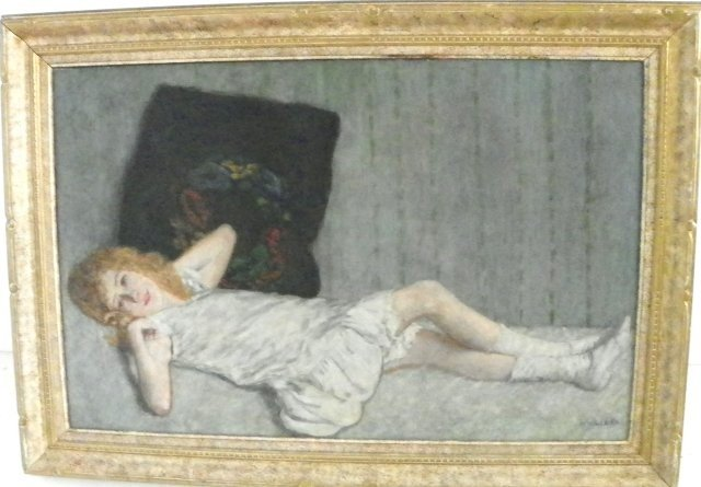 1212: Leopold Widlizka Young Girl Reclining oil paintin