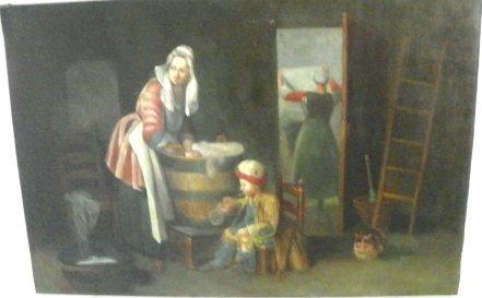 1213: 19thc Laundress, Boy Blowing Bubblesoil painting