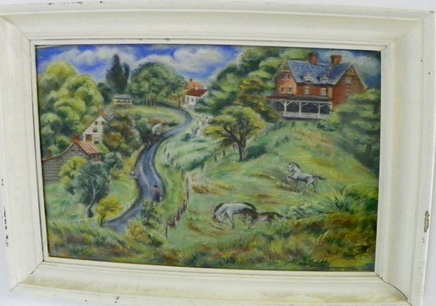 1214: Peggy Dodds Folky Landscape pastel painting