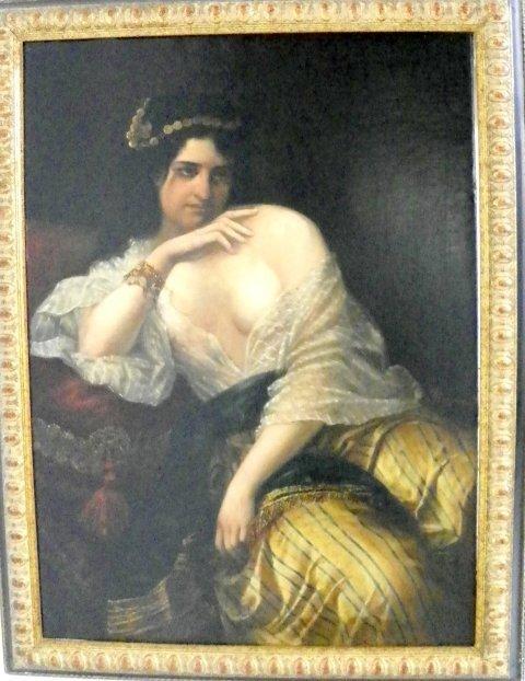 1215: Emilio Mazzoni Orientalist Woman oil painting