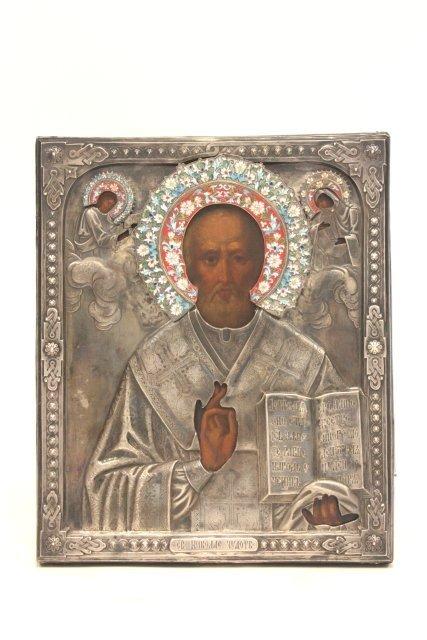 1216: 19thc Russian St. Nicholas icon, silver frame