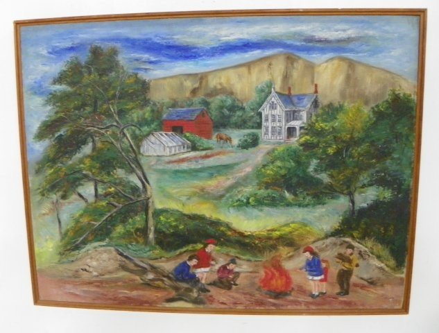 1218: Attrib to Peggy Dodds Children oil painting