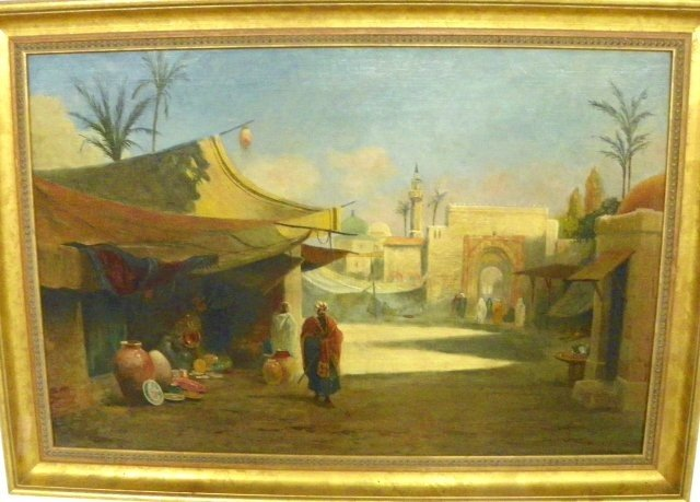 1219: Said Omar Middle Eastern Market oil painting