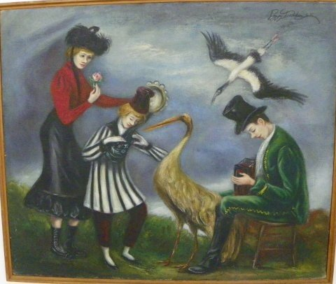 1221: Peggy Dodds People Dancing oil painting