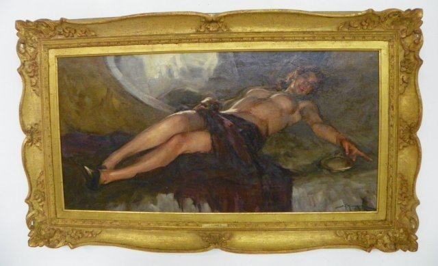 1222: Reclining Nude oil painting T. Richard