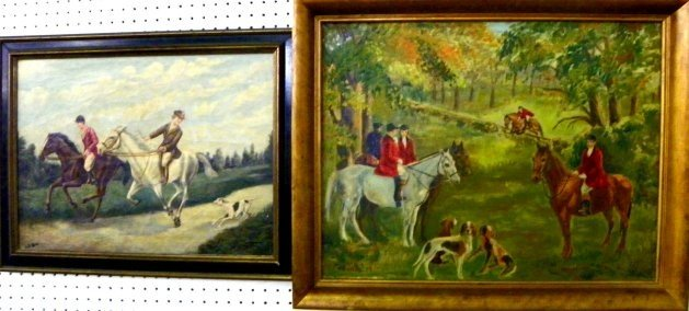 """1247: 2 paintings of """"Equestrian Scenes"""" signed"""