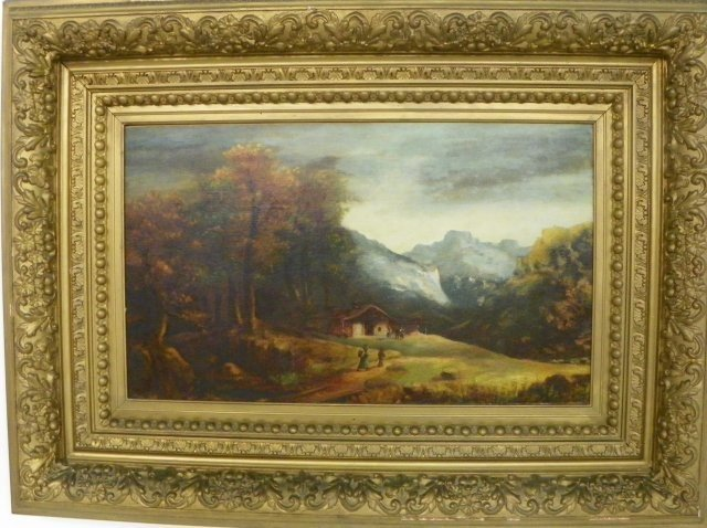 1248: 19thc Mountain Landscape with House oil painting