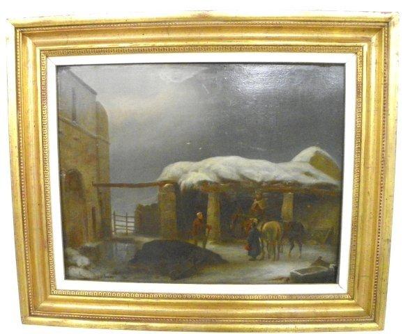 1249: 19thc Village Snow Scene oil painting