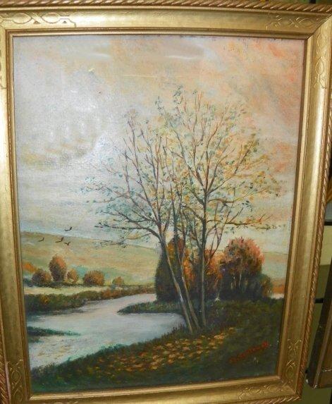 1250: C.E. Southwell River Landscape, oil painting