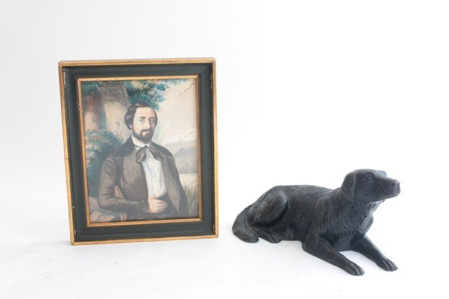 1251: 19thc French Portrait and Bronze dog