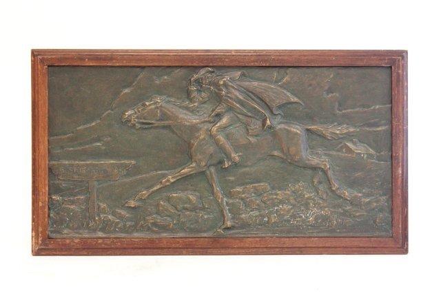 1253: Paul Revere  bronze relief plaque