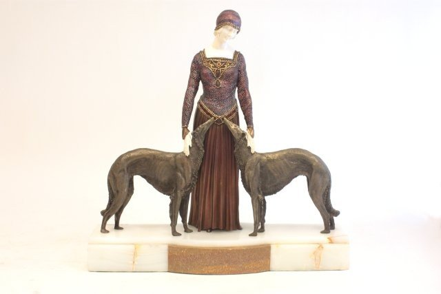 1254: Signed Chiparus bronze and ivory lady with dogs