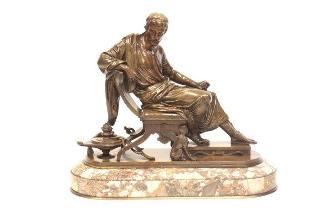 1255: Antoine Aubert bronze sculpture Roman Senator