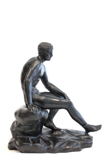 1256: 18/19thc Neoclassic nude male bronze sculpture