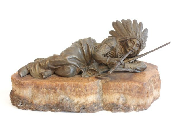 1258: Carl Kauba Indian bronze sculpture