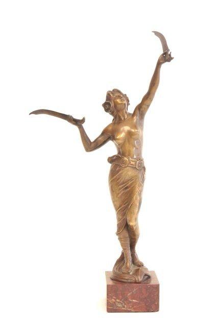 1263: Eugene Barillot Female Warrior bronze sculpture