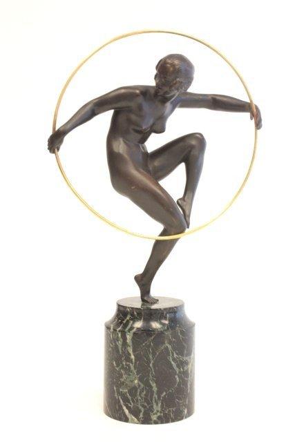 1277: Antoine Bouraine Art Deco Nude with Hoop bronze