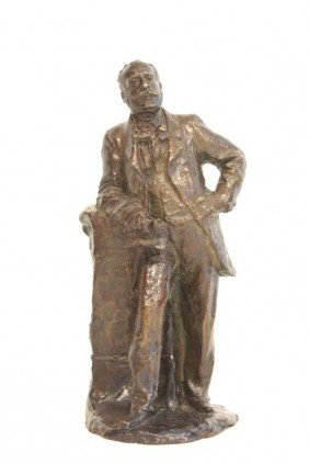 French Or Italian Bronze Sculpture Man With Book