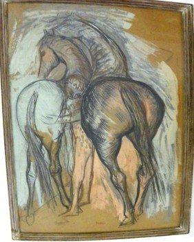 Josef Presser Horses Mixed Media Drawing