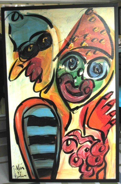 """1357: Peter R. Keil """"Clown from Boston"""" oil painting"""