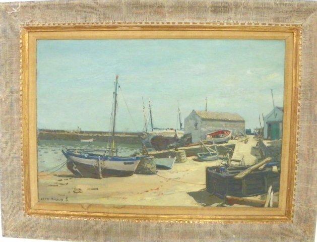 jean rigaud harbor scene oil painting