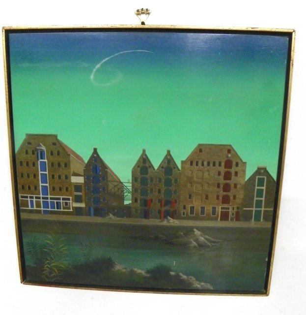 1371: Franz Deckwitz Houses at Harbor oil painting