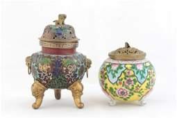 1478: Chinese cloisonne incense burner & porcelain bowl