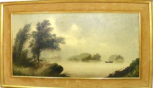 """1193: """"W. Meritt  Post""""  Oil Painting on Panel Landscap"""