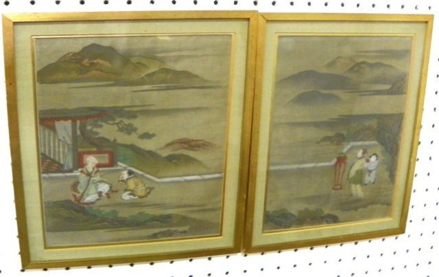 1199: Pair Antique Chinese watercolor paintings