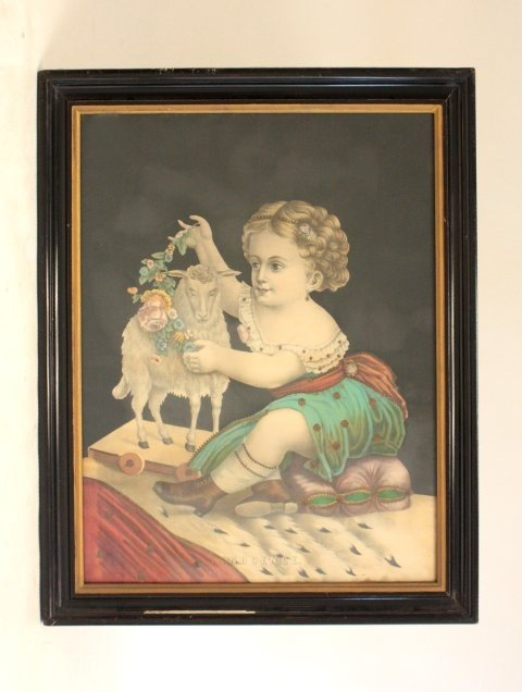 """1076: Victorian colored engraving """"Innocence"""""""