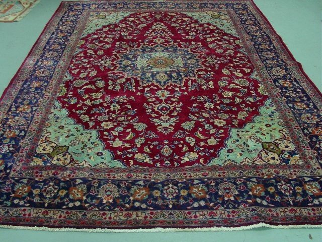 2001A: Kerman carpet red ground with blue