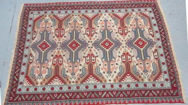 2003: Red & ivory handmade Killem rug