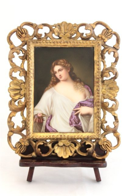 2222: 19th c. KPM porcelain plaque signed A. Buck
