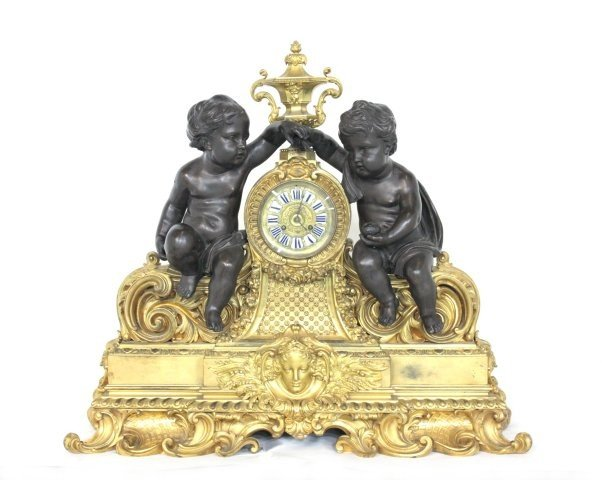 231: Monumental 19th c. bronze figural mantle clock
