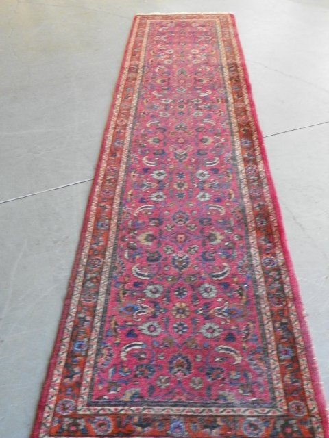 1A: Antique Meschad Oriental runner rug