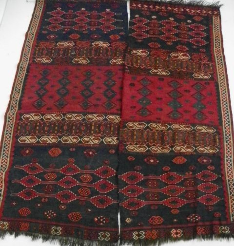 7: Pair semi-antique hanging Afghan rugs