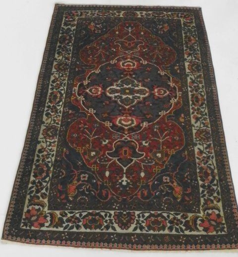 9: Semi-antique Hamedan blue & red rug