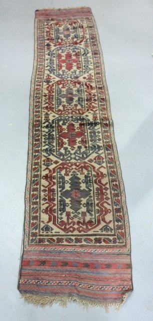 15: Red semi-antique Hamedan handmade rug