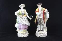 235 Pair 19th c Meissen porcelain figures