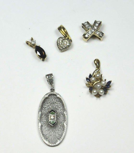 1000: Group of 5 gold & diamond pendants