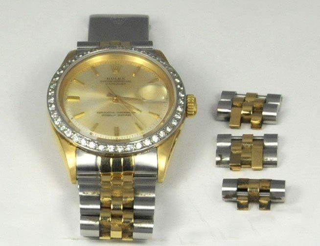 1014: Steel & gold link men's Rolex wrist watch
